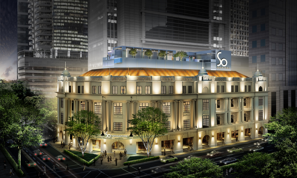 Exterior Facade of the Sofitel So Singapore at night (Artist's Impression)