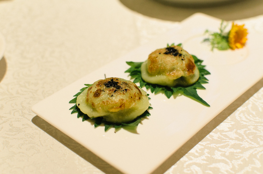 Pan-fried Dumplings with Chives, Minced Pork, Prawns and Mushrooms (韭菜煎肉饼)
