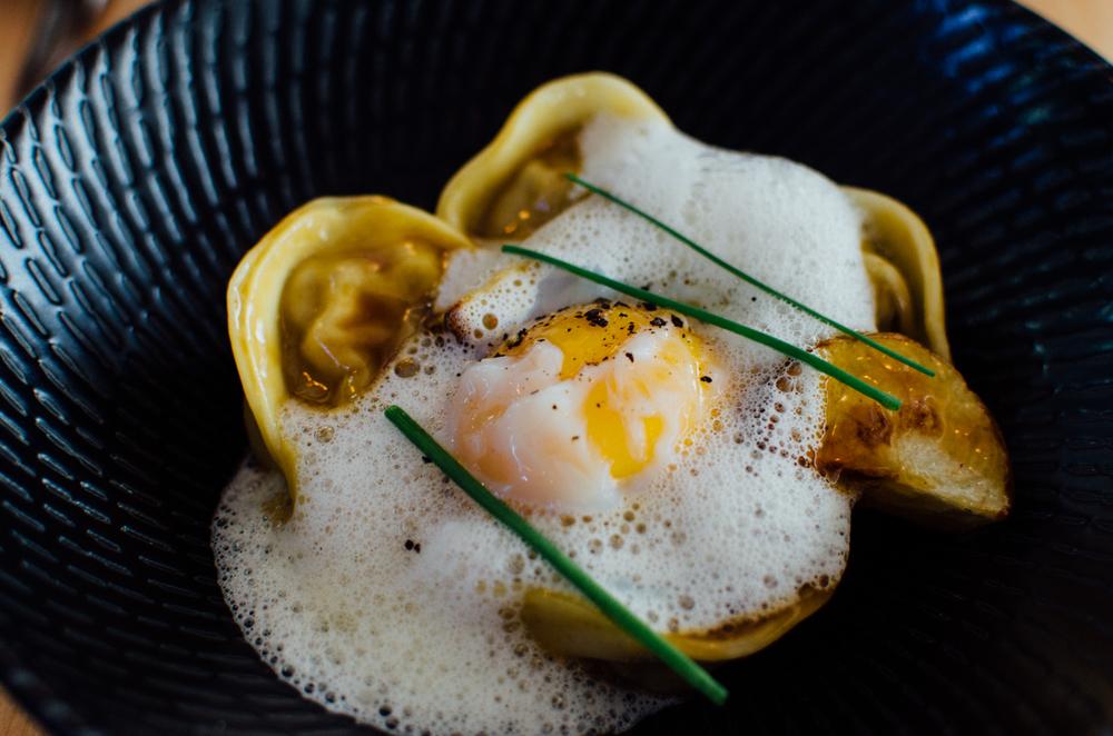 Duck Tortellini S$12.90++  poached egg, new potato & parmesan emulsion