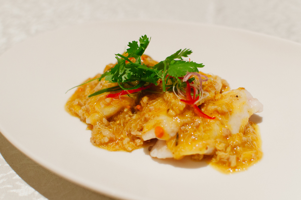 蟹粉肉未煎海斑片 Pan-fried Sliced Grouper Fish with Crab Meat, Crab Roe and Minced Pork
