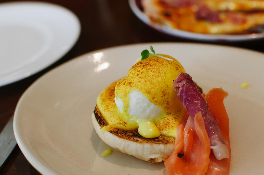 Eggs Benedict, Champagne Ham, Smoked Salmon