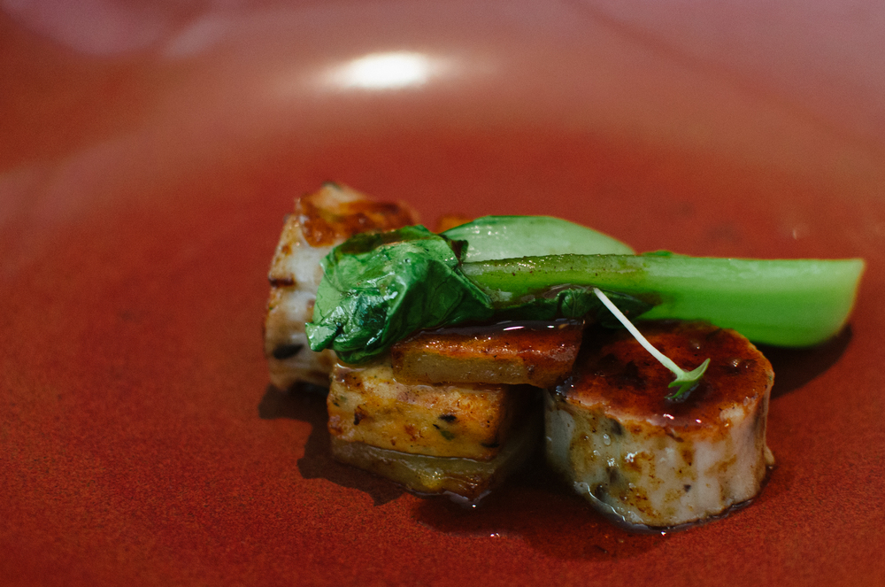 Scallop Pan Seared, Glazed Potato Sandwich, Bok Choy, Truffle Jus