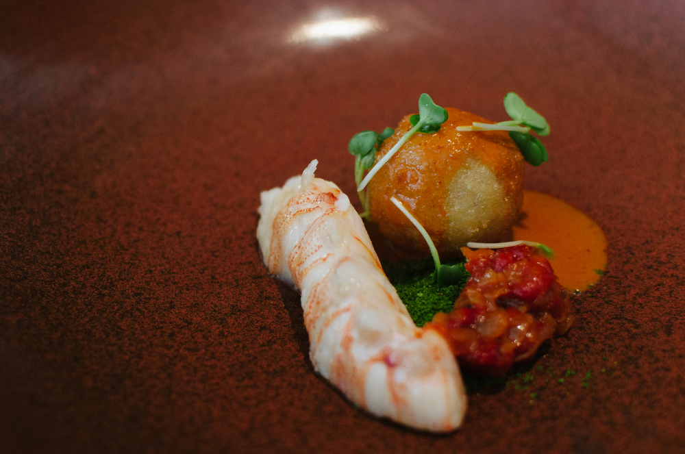 Sous Vide Lobster, Asian Arancini, Coriander Dust, Red Curry Sauce
