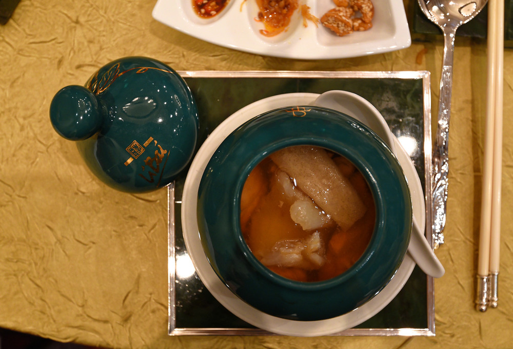 Double-boiled Chicken Soup with Fish Maw, Morel Mushroom, Pearl Meat, Bamboo Pith and Tientsin Cabbage