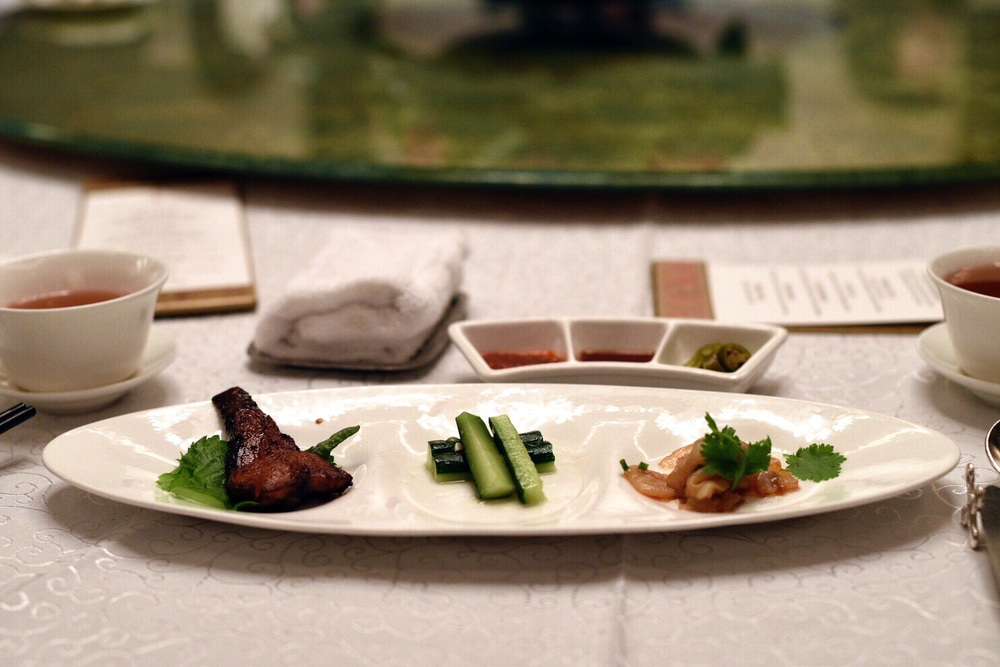 Trio of Appetisers (Shanghai-style Smoked Fish, Cucumber with Olive Oil, Marinated Jelly Fish with Scallion Oil)