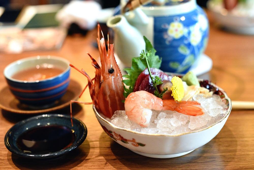 Sashimi - Toro (Tuna), Botanebi (Botan Shrimp), Hokkigai (Surf Clam)