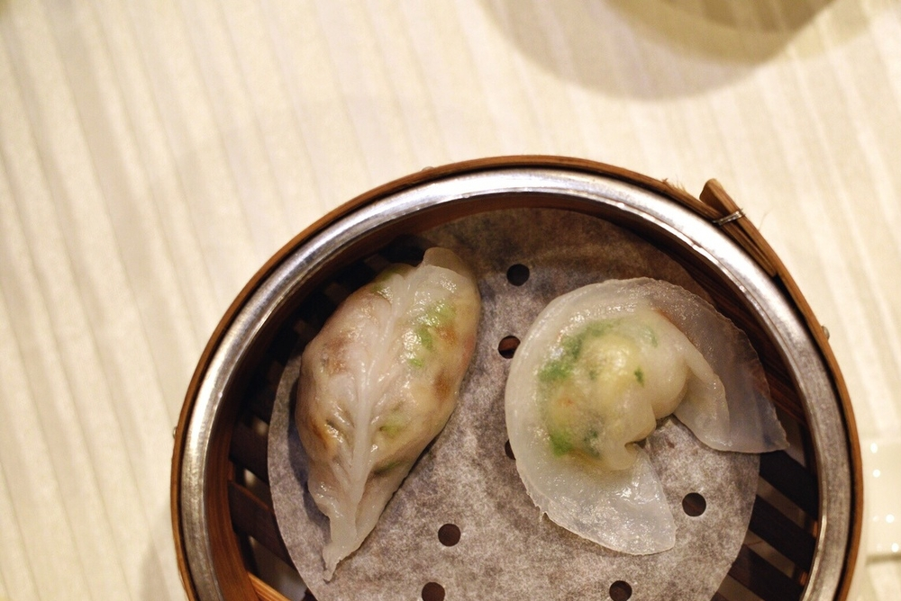 LEFT: Steamed Wild Mushroom and Celery Dumpling | RIGHT: Steamed Scallop with Fungus and Vegetable Dumpling