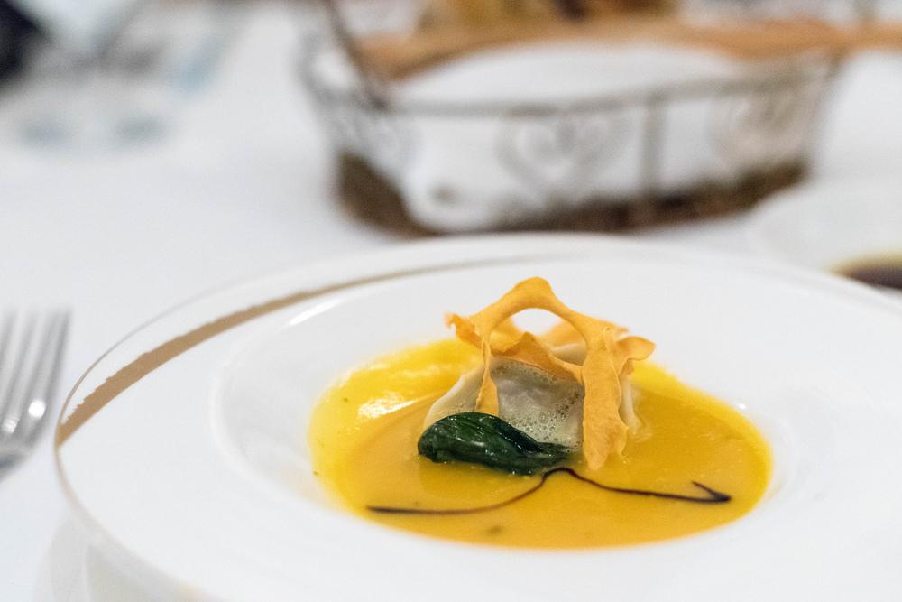 Vellutata di Zucca e Ravioli di Anatra (S$18++) - p  hotograph shows a tasting portion only.