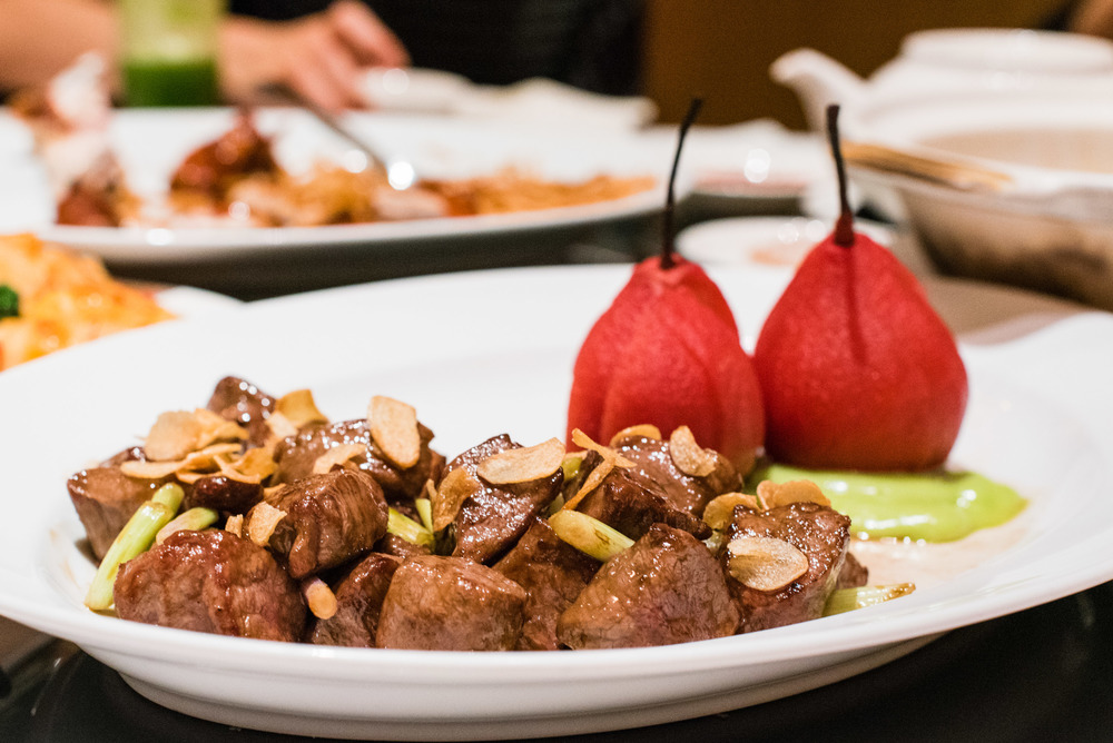 Wok-Fried Australia Beef Tenderloin & Chilled Marinated Sour Plum Pear with Light Wasabi Sauce (S$30++)