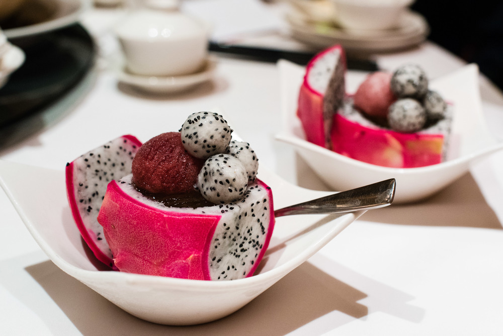 Cold Lemongrass Jelly, Red Wine Granite & Diced Dragon Fruit (S$13+)