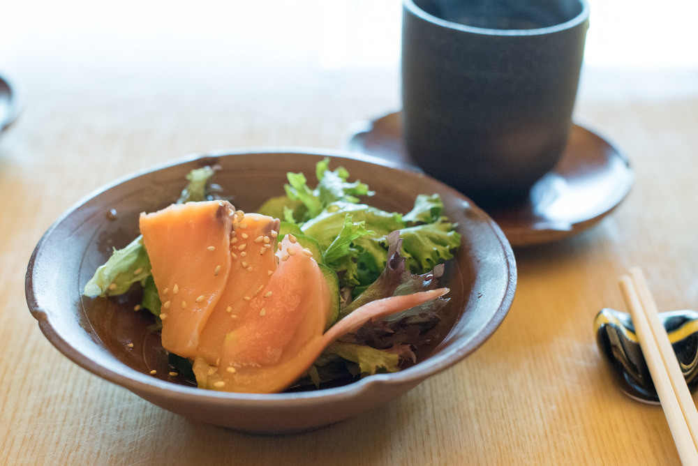 Salmon Sashimi and Salad