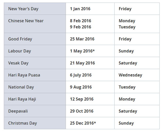 2016 Public Holidays in Singapore | Photo Credit: Ministry of Manpower