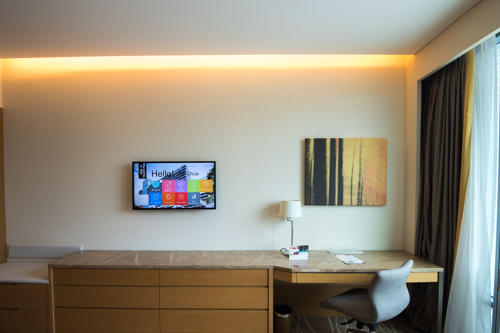 TV and Working Area in the Deluxe Room - Hotel Jen Orchardgateway Singapore