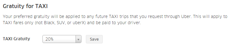 Uber TAXI Gratuity