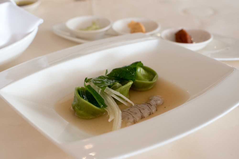 Green Tortelli, Anchovy Butter, Squilla Mantis Dolce Vita - Mandarin Oriental, SIngapore