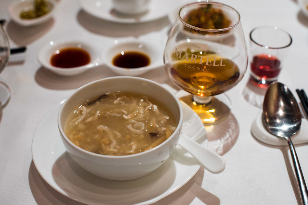 Braised Bird's Nest and Shredded Chicken in Supreme Broth ( 浓汤鸡丝燕窝羹)  | Martell V.S.O.P.  Shang Palace - Shangri-La Hotel, Singapore