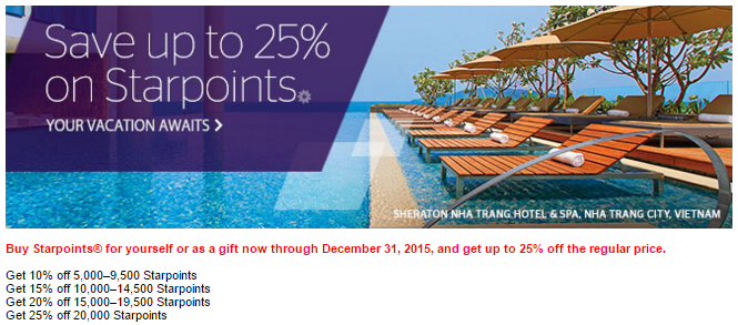 Save 25% on Starpoints