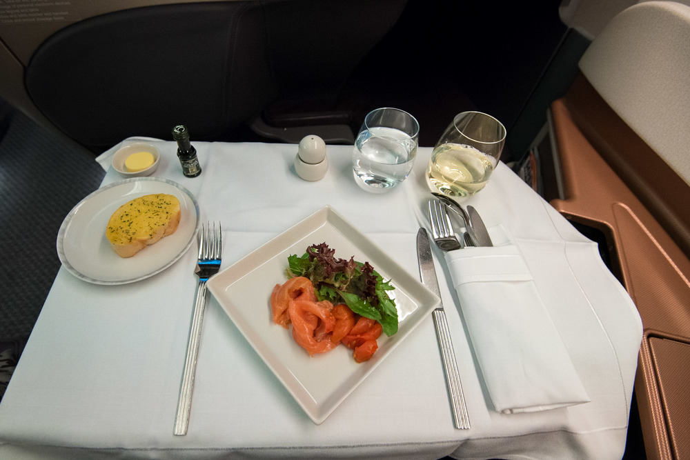 Bread and Smoked Salmon with Cherry Tomato Confit and Mesclun Boeing 777-300ER (Business Class) - Singapore Airlines
