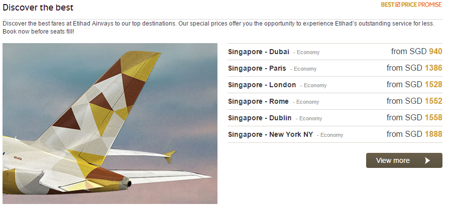 Promotional Flights from Singapore | Photo Credit: Etihad