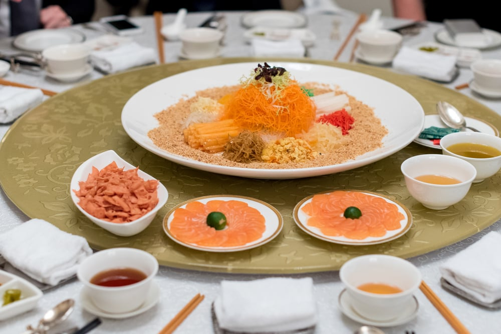 "Prosperity ""Yu Sheng"" with Norwegian Salmon  Yan Ting - The St. Regis Singapore"