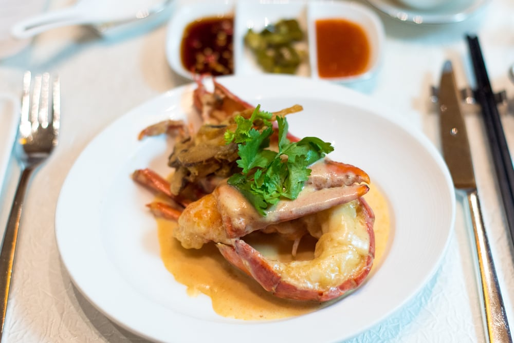 Simmered Boston Lobster with Ginger Milk Jade - The Fullerton Hotel