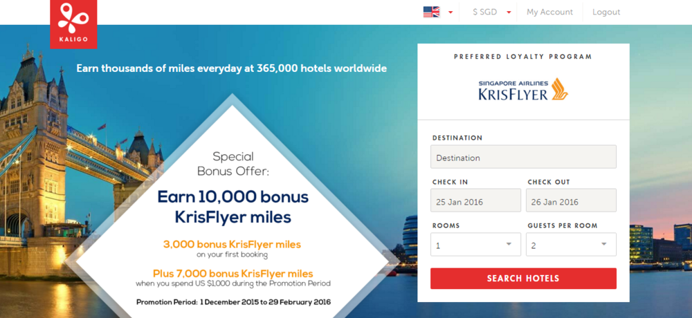 Kaligo KrisFlyer Offer