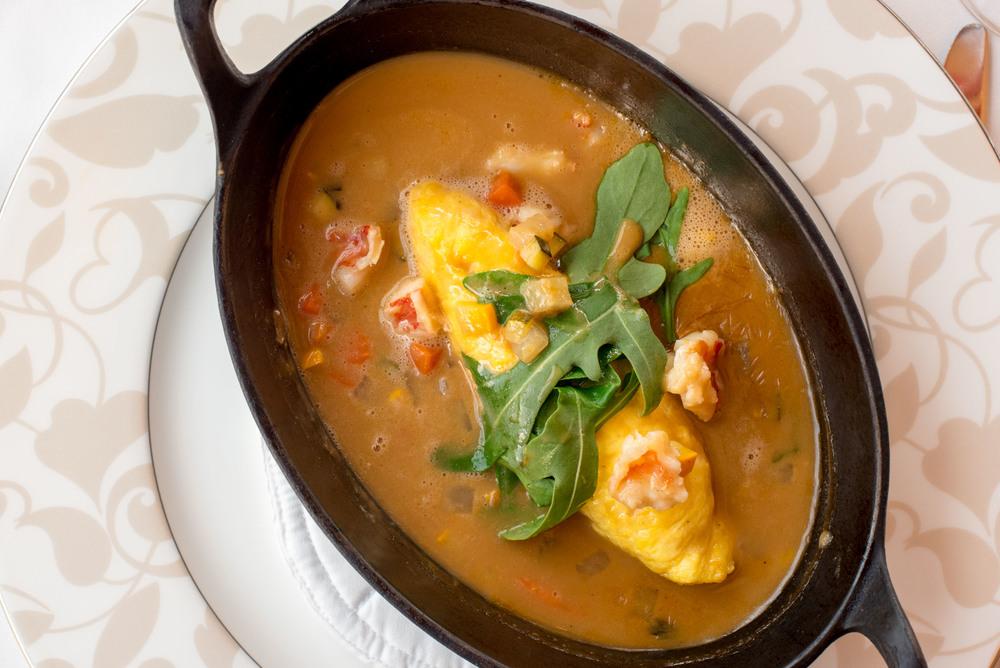 River Lobster Egg Omelette - Boneka Restaurant The St. Regis Bali Resort