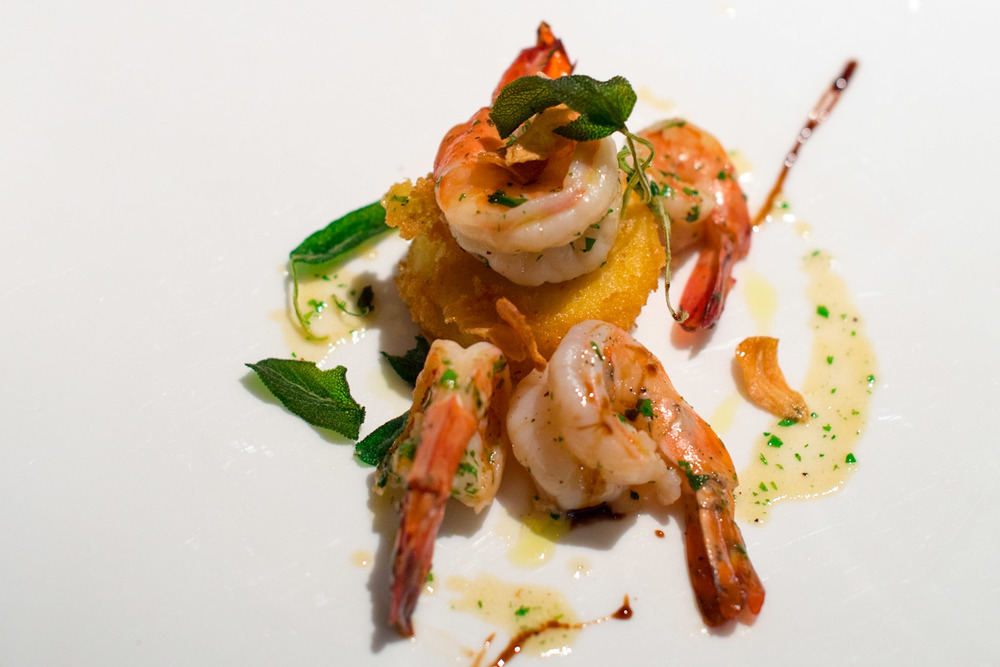 Seared Prawns, Soft Polenta, Sage, Garlic Chips - Chef's Table Dolce Vita - Mandarin Oriental, Singapore