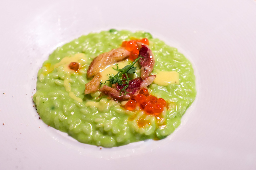 Green Pea Risotto, Smoked Eel, Salmon Roe, Butter Sauce - Chef's Table Dolce Vita - Mandarin Oriental, Singapore