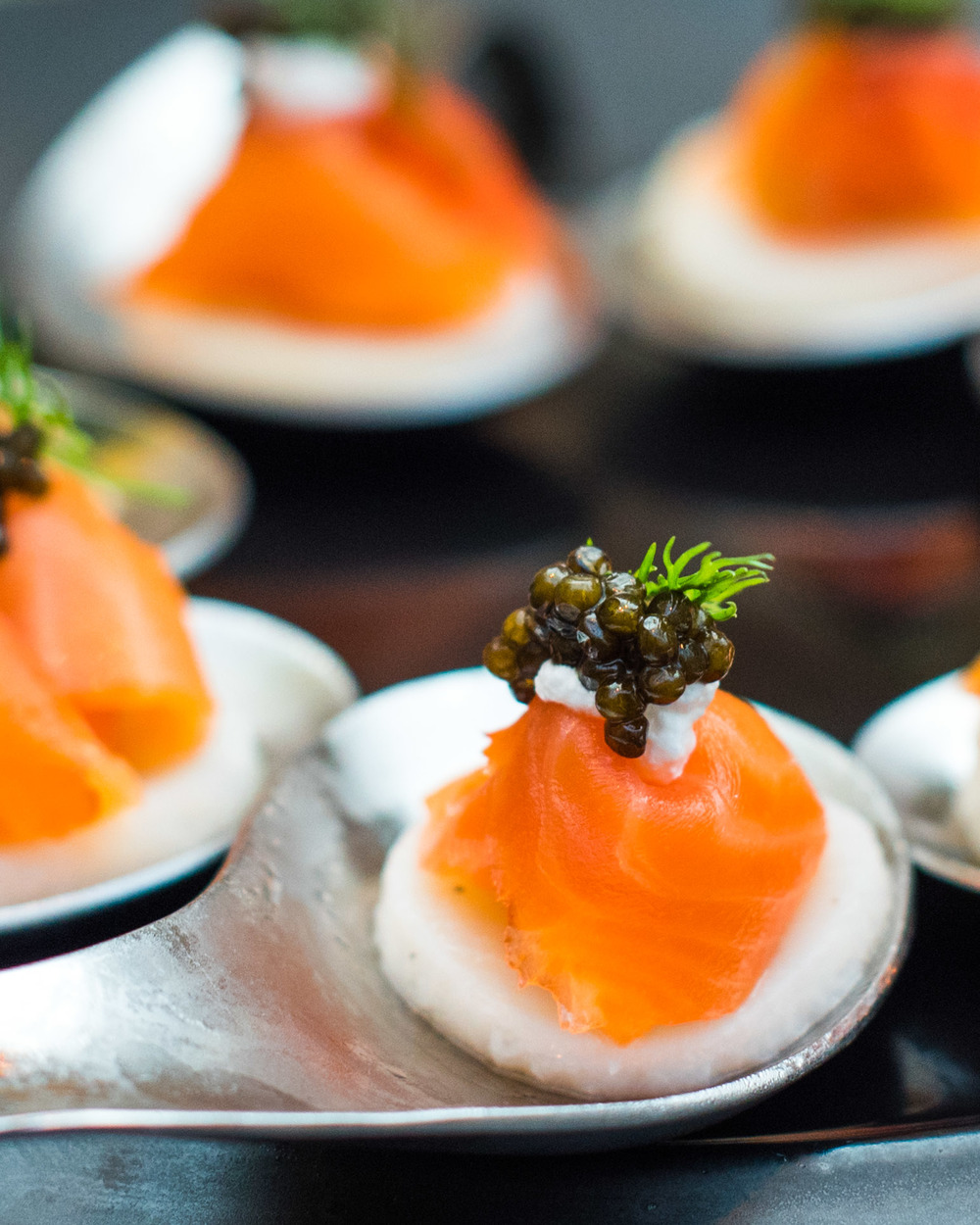 Hickory Smoked Salmon with Caviar Cream served on Dill Potato