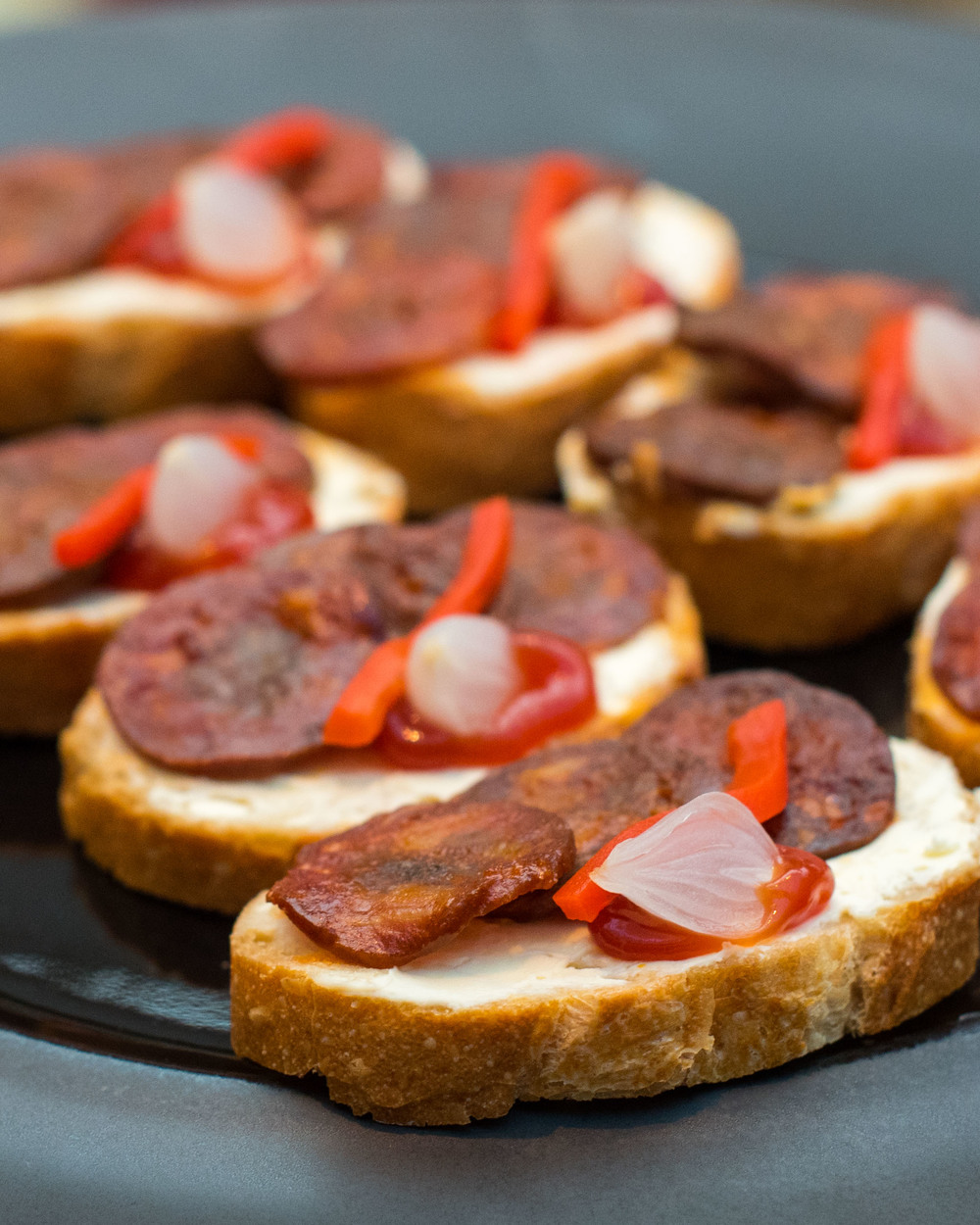 Iberico Chorizo on Toast with Pickled Onion