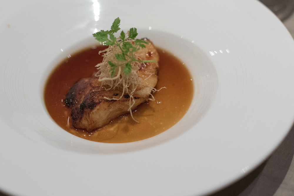 Baked Sea Perch on Egg Custard, Ginger and Supreme Broth (S$25++) Jiang-Nan Chun - Four Seasons Hotel Singapore