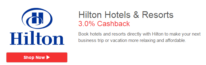 3% Cashback with Hilton on ShopBack
