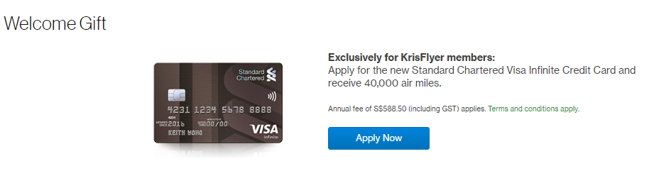 Get 40,000 KrisFlyer Miles when you get the new Standard Chartered Visa Infinite Credit Card