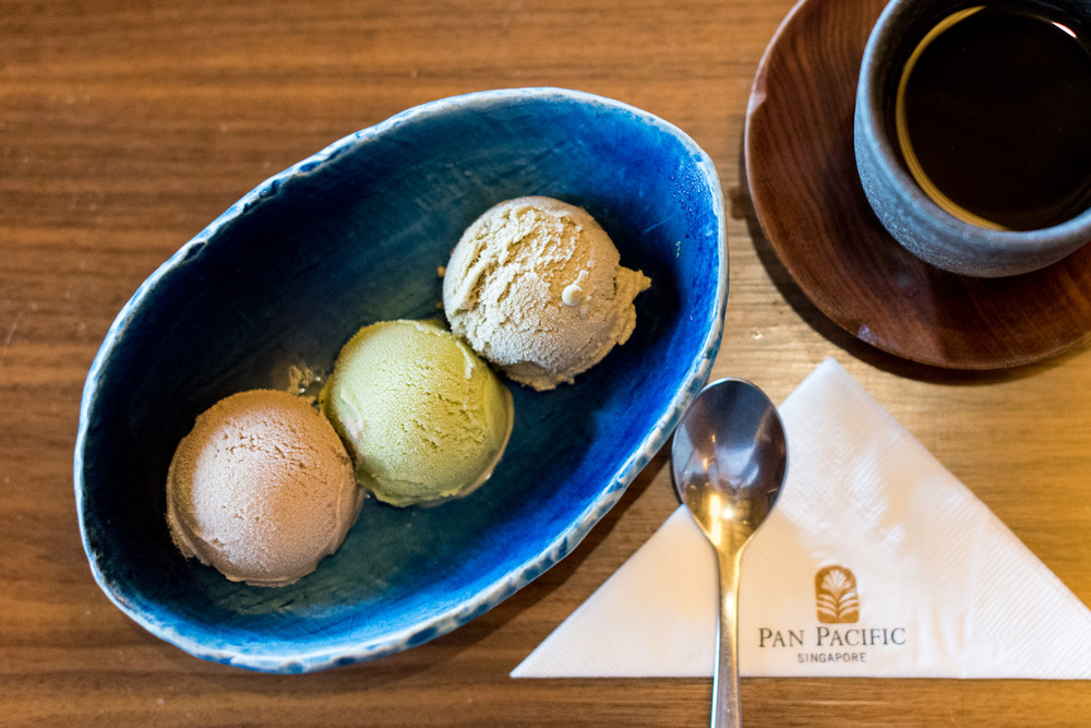 Mugicha (Roasted Barley Tea), Sencha (Green Tea) and Hojicha (Roasted Green Tea) Ice Cream Keyaki - Pan Pacific Singapore