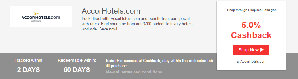 Get 5.0% Cashback with AccorHotels on ShopBack!