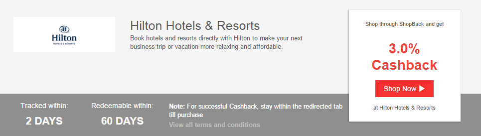 Get 3.0% Cashback with Hilton on ShopBack!