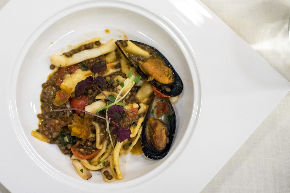 Cavatielli Pasta with Baby Cuttlefish, Mussels, Lentils, Aglio Olio and Bottarga Basilico - Regent Singapore