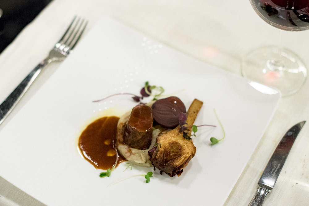 Sweet Chilli dusted Lamb Loin with Artichokes, Sour Red Onions, Rosemary Crushed Potatoes and Barolo Wine Sauce Basilico - Regent Singapore