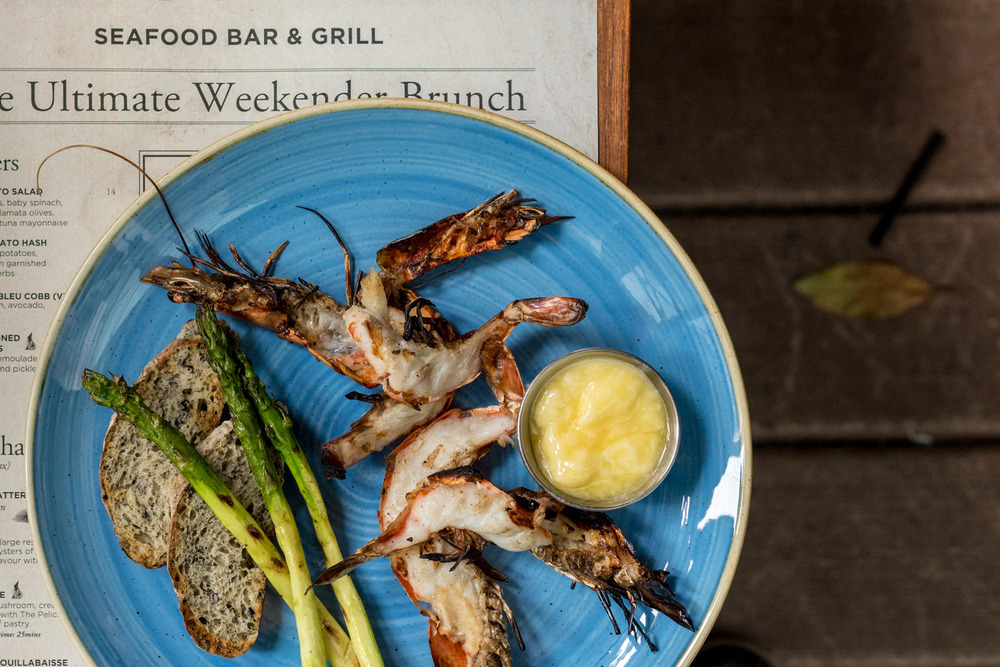 Tiger Prawns & Asparagus (S$28++)  Saturday Brunch - The Pelican Seafood Bar & Grill