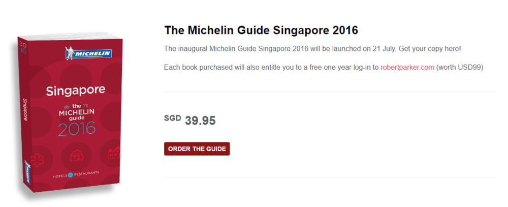 The MICHELIN Guide Singapore 2016 | Photo Credit: MICHELIN Singapore