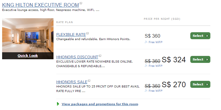 Room Reservation at the Hilton Singapore