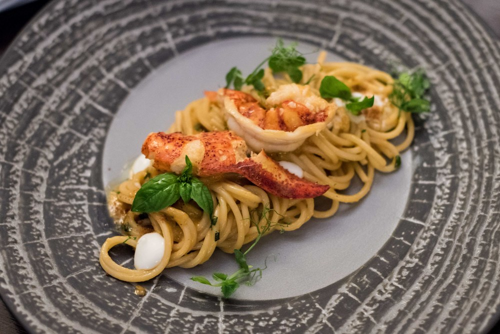 Spaghetti with Maine Lobster, Fresh Tomatoes, Italian Basil and Burrata Cheese il Cielo - Hilton Singapore