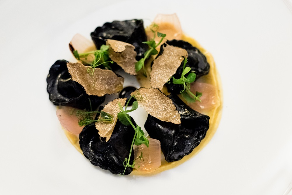 Pumpkin Charcoal Ravioli with Chickpeas Cream, Red Onions, Modena Balsamic and Black Truffles il Cielo - Hilton Singapore