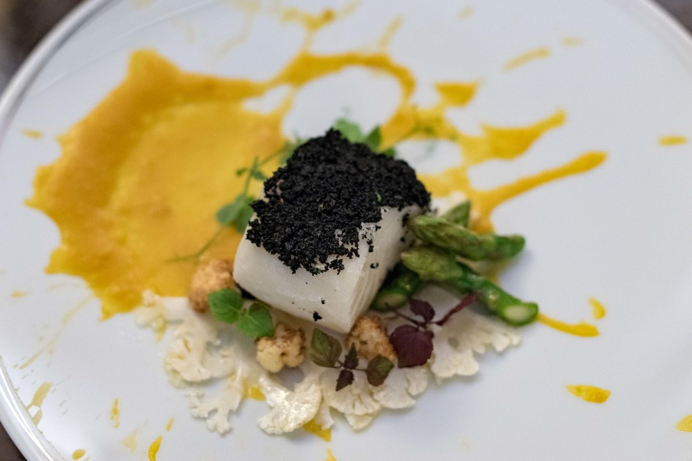 MSC-certified Slow-cooked Glacier 51 Toothfish in Smoked Herbs, Roasted Pumpkin Cream, Asparagus and Cauliflower il Cielo - Hilton Singapore