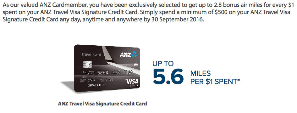 5.6 Miles with ANZ Travel Visa Signature Credit Card | Photo Credit: ANZ