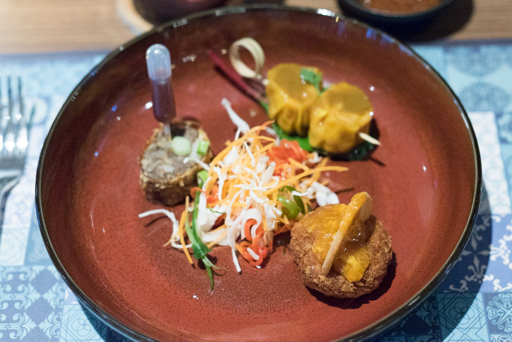 Chilli Crab Cake | Otak Siew Mai | Ngoh Hiang Baba Chews Bar and Eatery -Hotel Indigo Singapore Katong