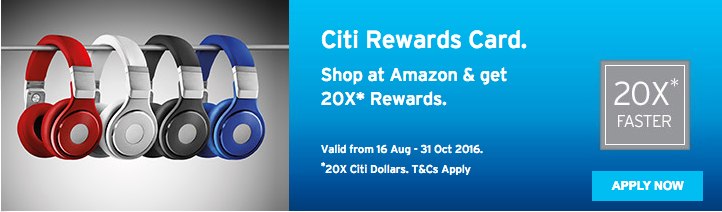 20X Rewards Points with Citibank Rewards Card | Photo Credit: Citibank