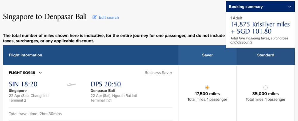 Singapore to Denpasar (Bali) using KrisFlyer Miles