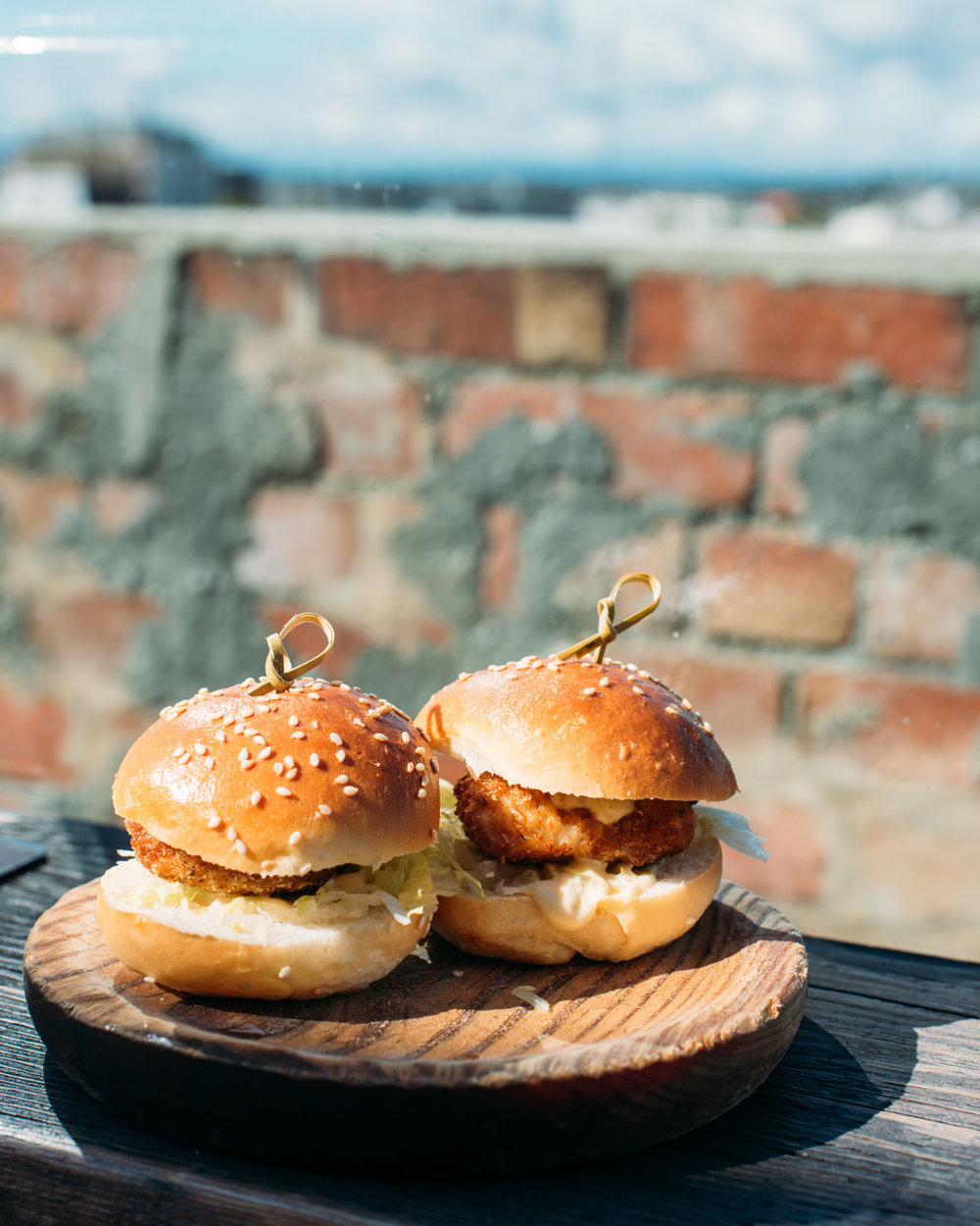 Confit Chicken Wing Sliders, Iceberg Lettuce, Mayo and Tabasco   Naked in the Sky - Melbourne, Australia